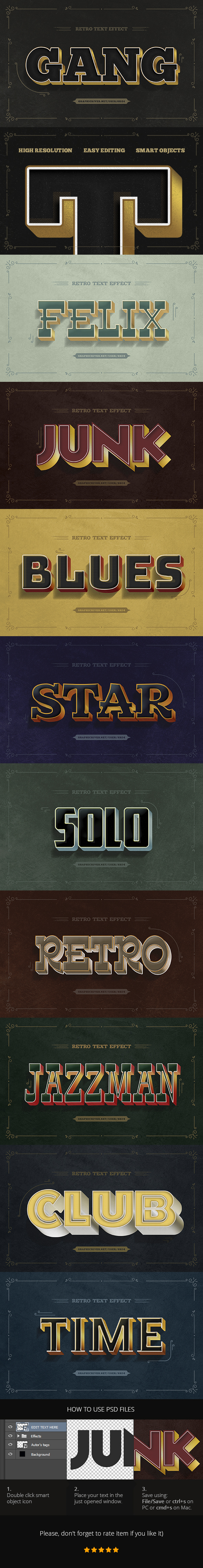 10 Retro Text Effects - PSD - Text Effects Actions