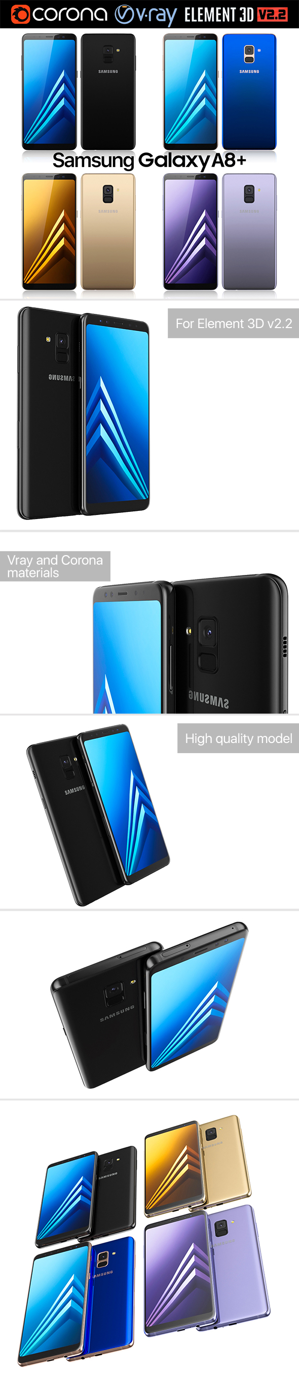 Samsung Galaxy A8 PLUS All colors - 3DOcean Item for Sale