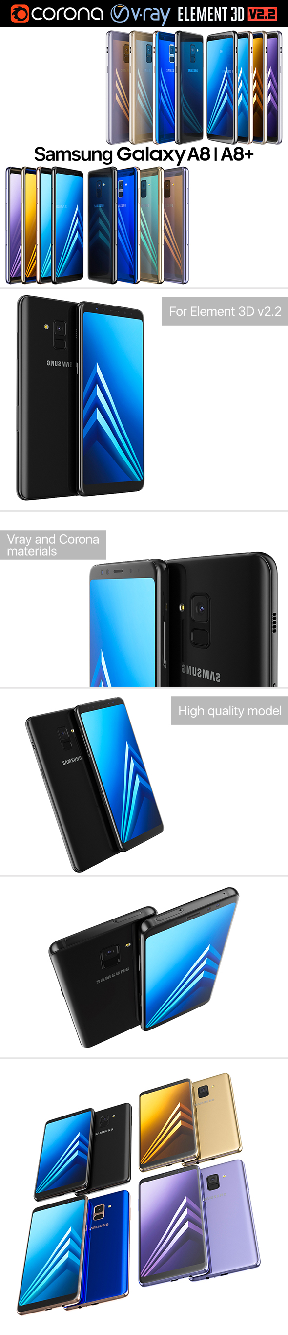 Samsung Galaxy A8 and A8 PLUS COLLECTION - 3DOcean Item for Sale