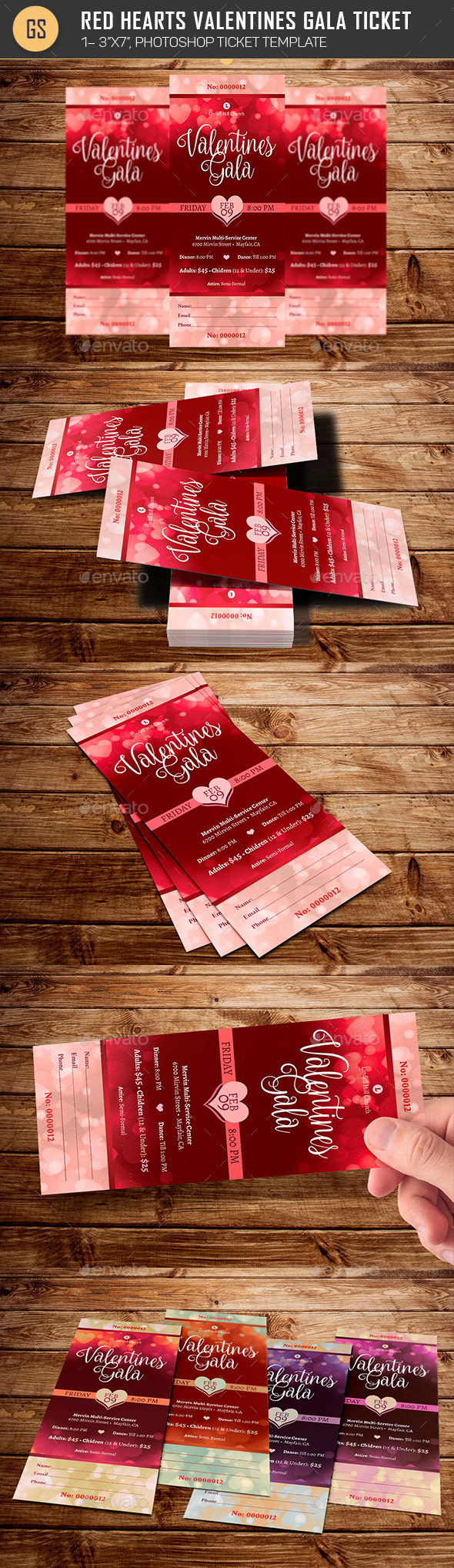 Red Hearts Valentines Gala Ticket Template - Miscellaneous Print Templates