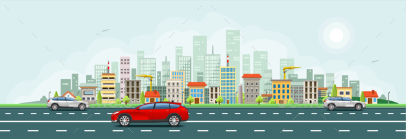 City Skyline Vector Banner - Buildings Objects