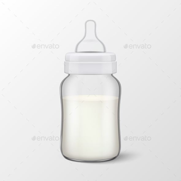 Vector Realistic Blank Baby Mother Breast Milk - Food Objects