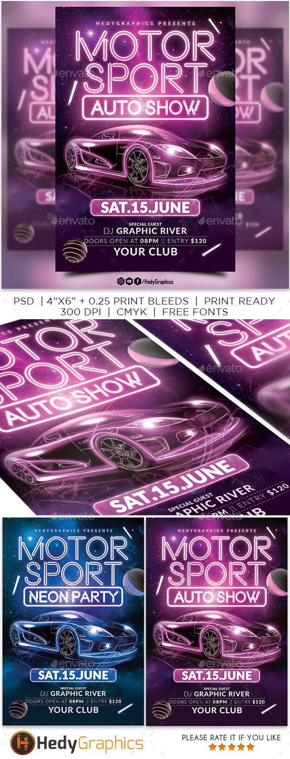 Motor Sport - Auto Show Flyer - Clubs & Parties Events