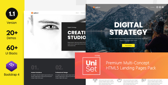 ThemeForest UniSet Premium Multi-Concept Landing Pages Pack 21191275