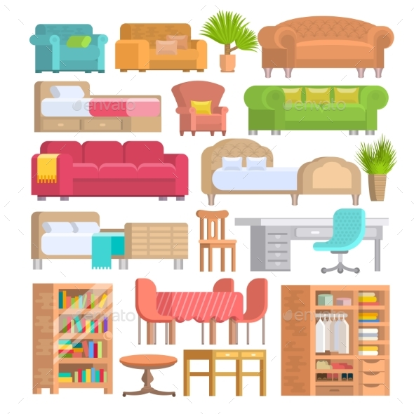 Furniture Vector Furnishings Design of Bedroom - Man-made Objects Objects