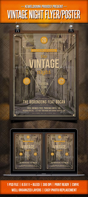 Vintage Night Flyer / Poster - Concerts Events