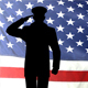 Silhouette Of A US Army Officer Saluting Against The American Flag - VideoHive Item for Sale