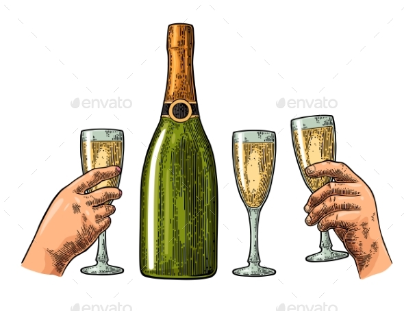 Bottle of Champagne and Hands Holding Glass - Food Objects