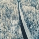 Aerial View of a Car Driving on a Snowy Forest Road - VideoHive Item for Sale