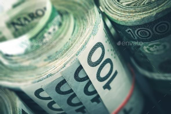 Rolled Polish Zloty Banknotes - Stock Photo - Images