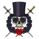 Cartoon Vampire Skull in Cylinder Hat - GraphicRiver Item for Sale