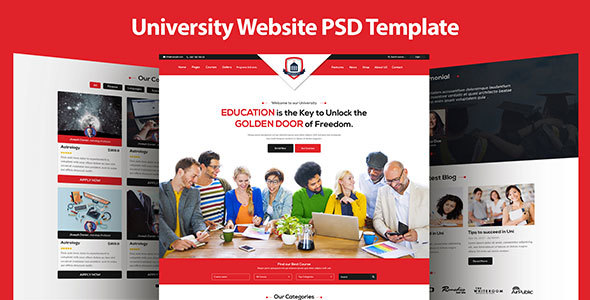 University Education Single Page PSD Template