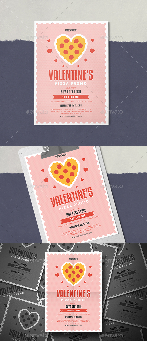 Valentine's Pizza Promo Flyer - Events Flyers