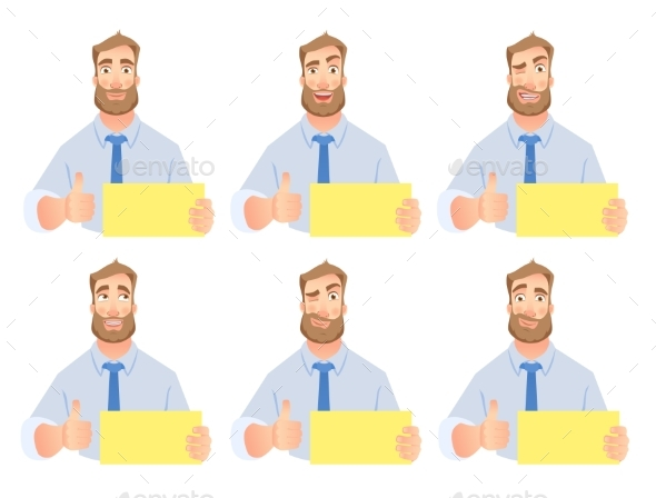 Businessman Holding Blank Sign Set - People Characters