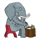 Cartoon Elephant Sitting on a Chair and Eating - GraphicRiver Item for Sale