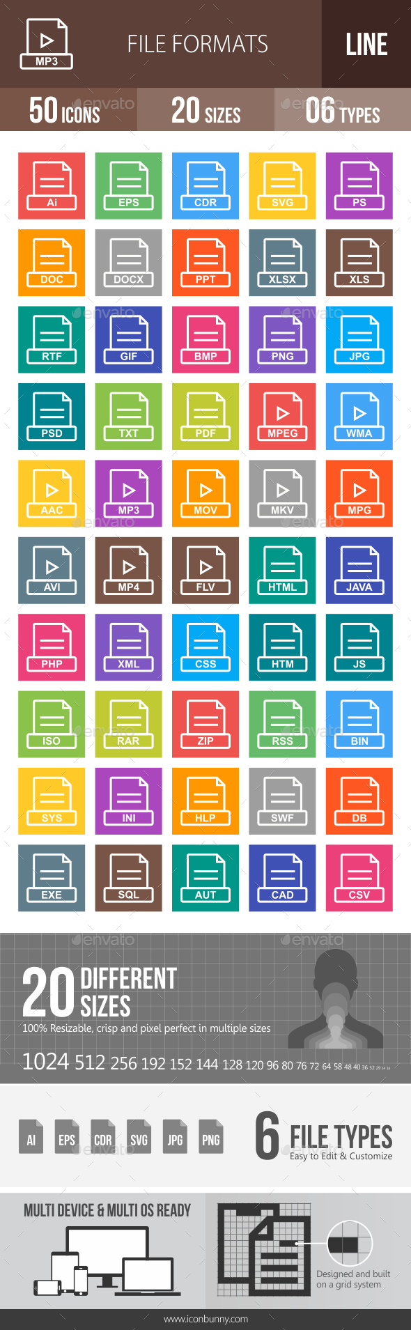 50 File Formats Line Multicolor B/G Icons - Icons