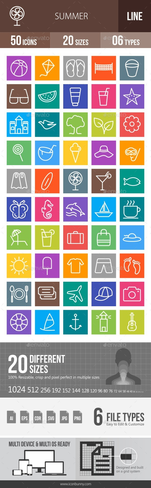 50 Summer Line Multicolor B/G Icons - Icons