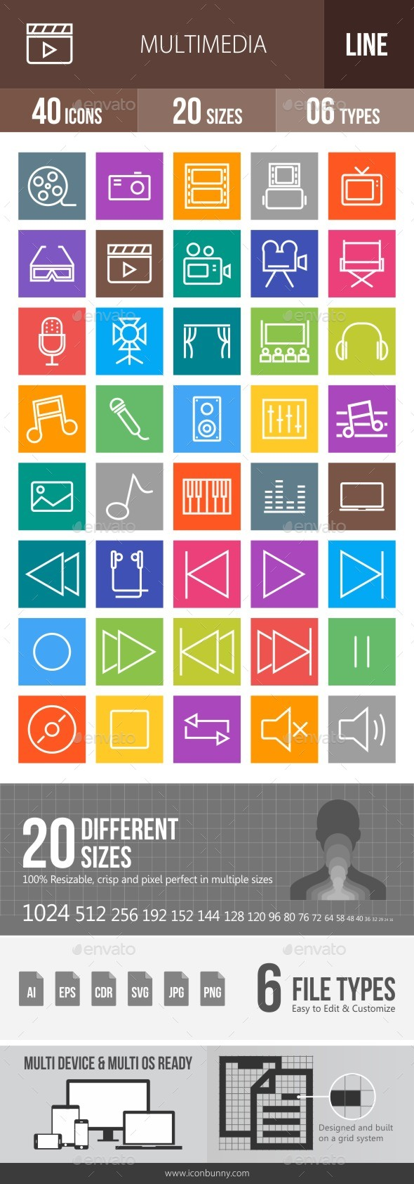 40 Multimedia Line Multicolor B/G Icons - Icons