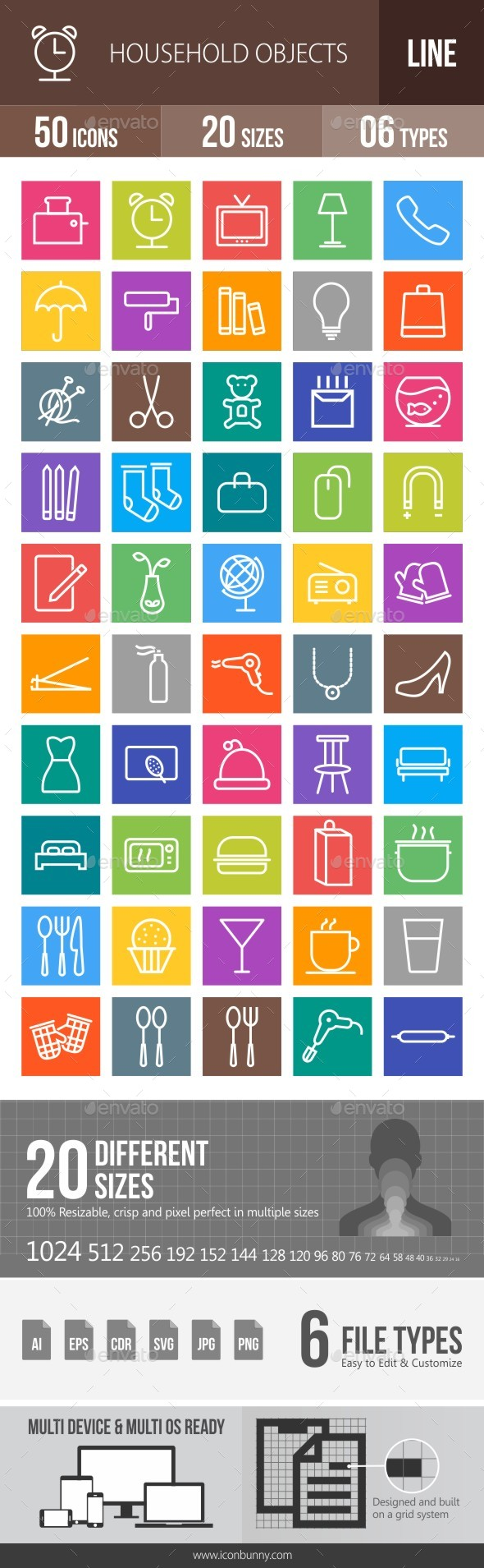 50 Household Objects Line Multicolor B/G Icons - Icons