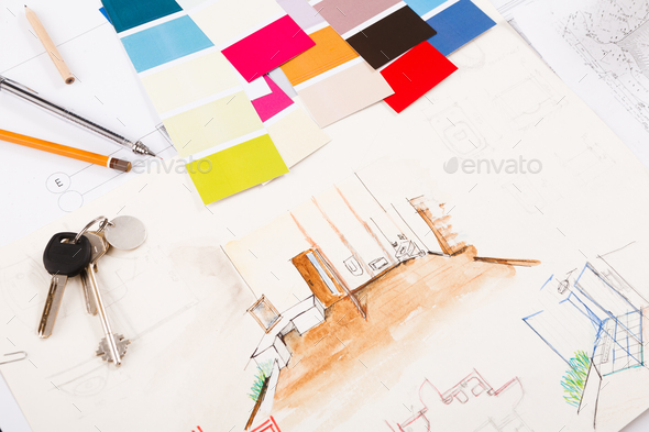 Designers tools on hand painted sketch of room - Stock Photo - Images