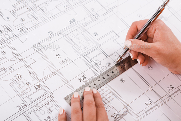 Architect drawing architectural project closeup - Stock Photo - Images