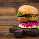 Sandwich hamburger with juicy burgers,  red cabbage and pink sauce - PhotoDune Item for Sale