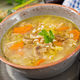 Thick soup with pearl barley, celery, chicken, and mushrooms. Dietary menu - PhotoDune Item for Sale