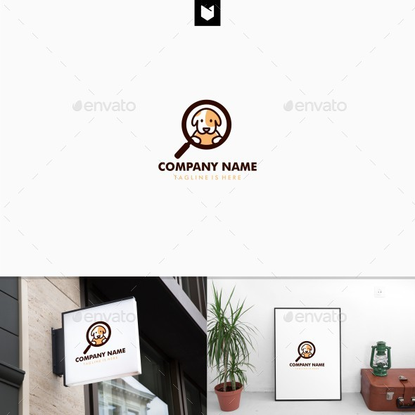 Dog search logo template - Animals Logo Templates