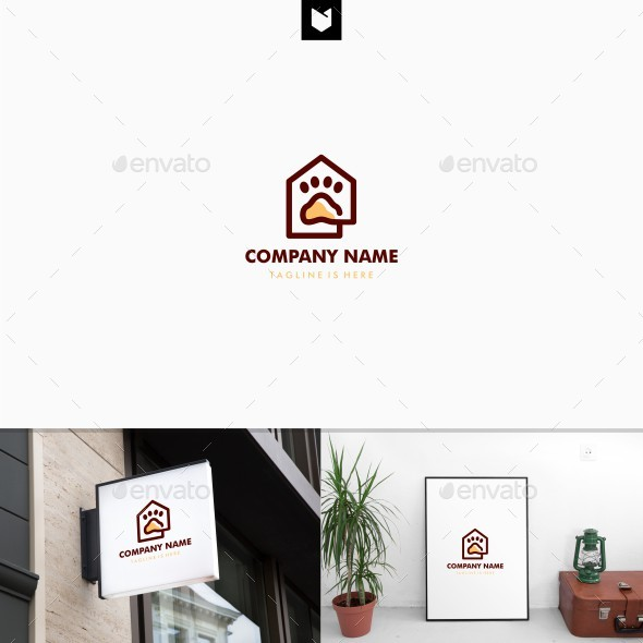 Home house paw logo template - Animals Logo Templates