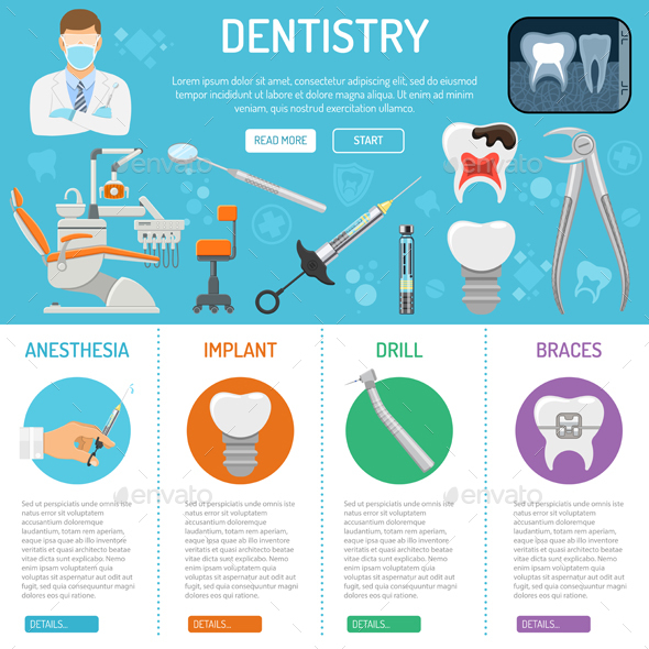 Dental Services Banner and Infographics - Health/Medicine Conceptual