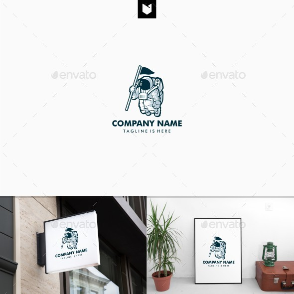 Astronaut With Flag Logo Template - Humans Logo Templates