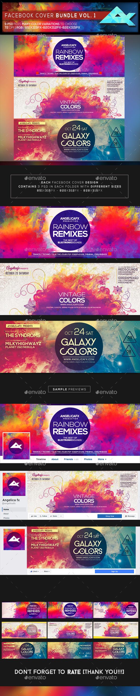 Colorful Facebook Cover Bundle Vol 1 - Facebook Timeline Covers Social Media