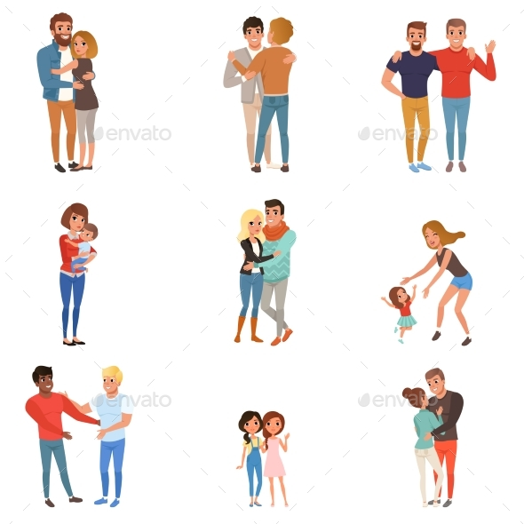 Set with Hugging People - People Characters
