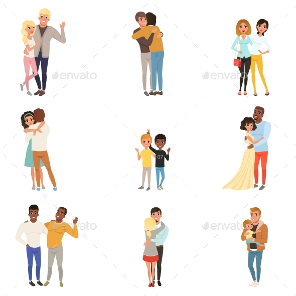 Set of Hugging People in Different Poses - People Characters