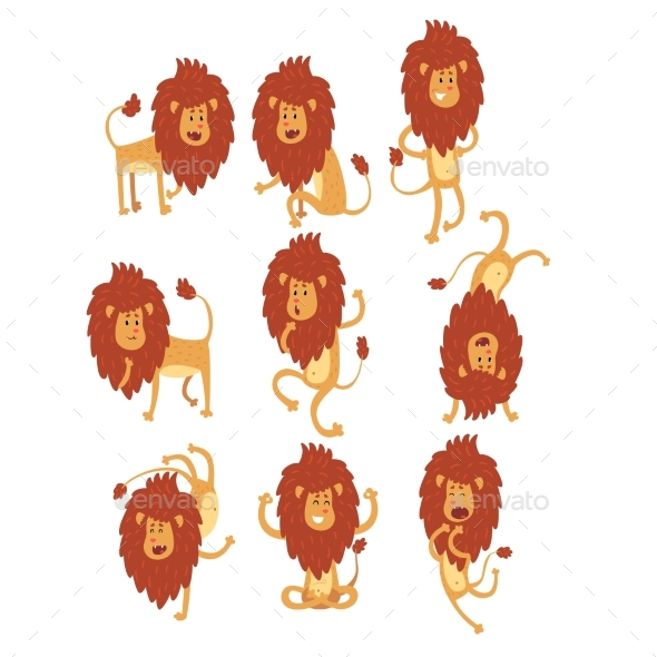 Set of African Lion in Different Actions - Animals Characters