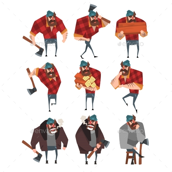 Cartoon Set of Lumberjack in Different Actions - People Characters