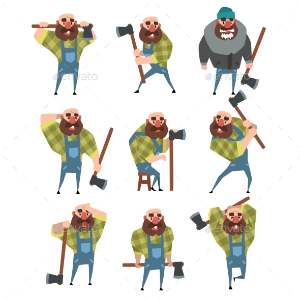 Set of Bald Lumberjack in Different Poses - People Characters