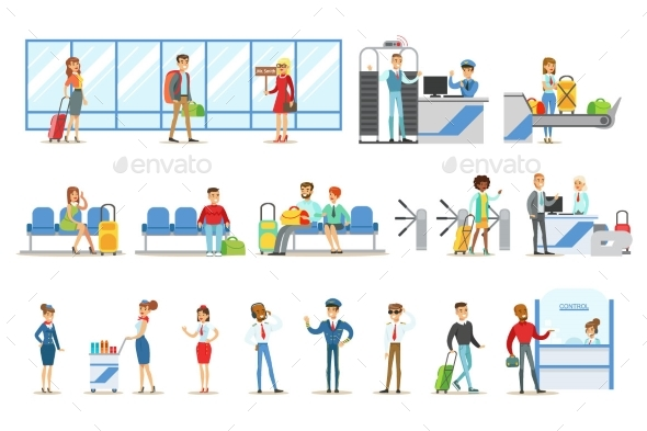 People in The Airport Interior - Miscellaneous Vectors