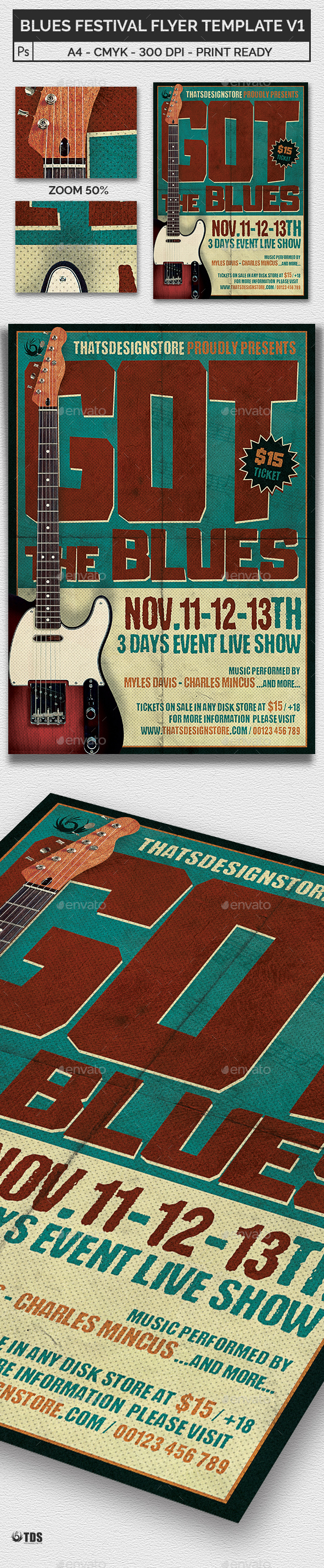 Blues Festival Flyer Template V1 - Concerts Events
