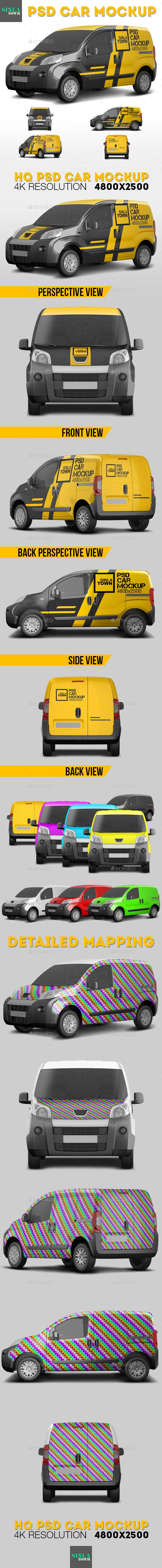 Realistic PSD Car Mockup - Vehicle Wraps Print