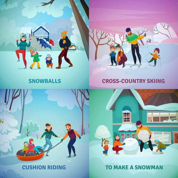 Winter Recreation Concept Icons Set - Sports/Activity Conceptual