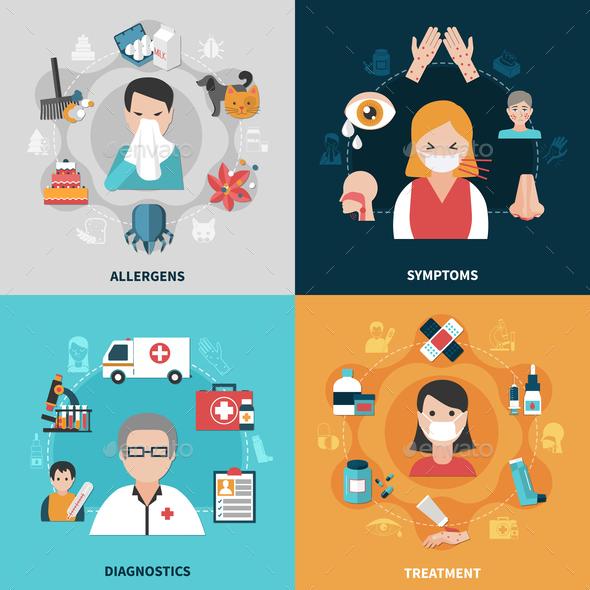 Allergy 2x2 Icons Set - Health/Medicine Conceptual