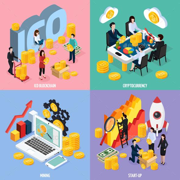 ICO Blockchain Isometric Design Concept - Concepts Business