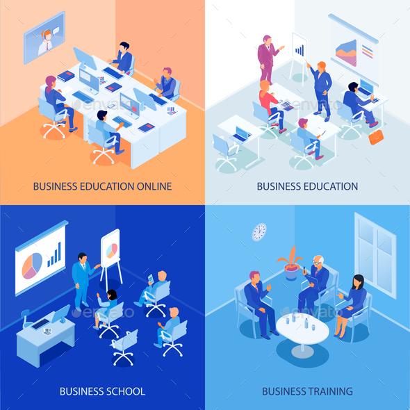 Business Education Isometric Design Concept - Concepts Business
