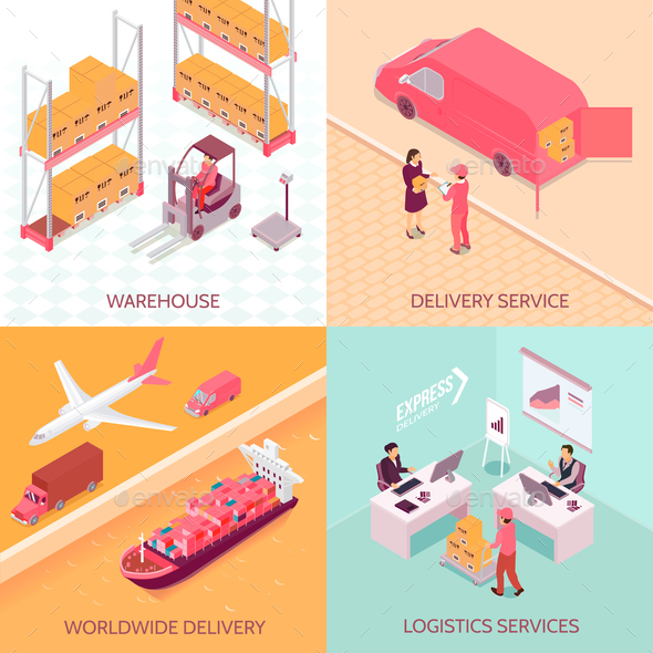Logistics Services Isometric Design Concept - Computers Technology