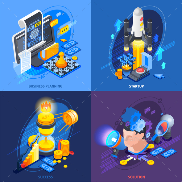 Startup Entrepreneurship Isometric Icons Concept - Concepts Business