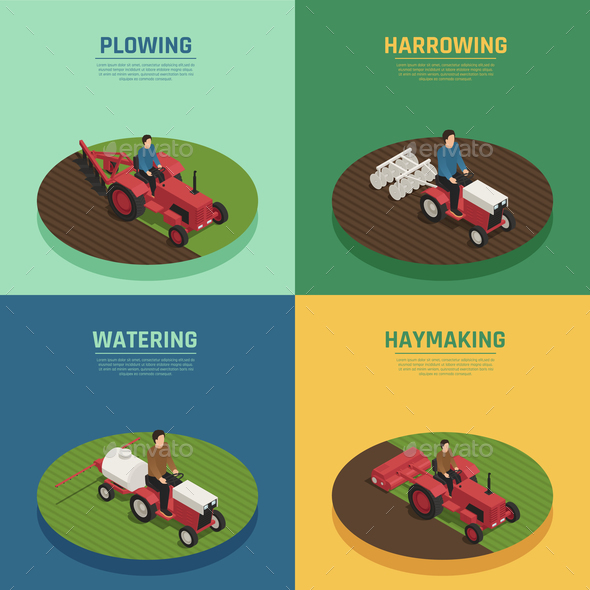 Farm Machinery 4 Isometric Icons - Industries Business