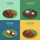 Farm Machinery 4 Isometric Icons
