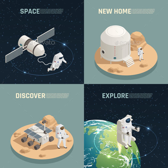 Space Exploration 4 Isometric Icons - Communications Technology