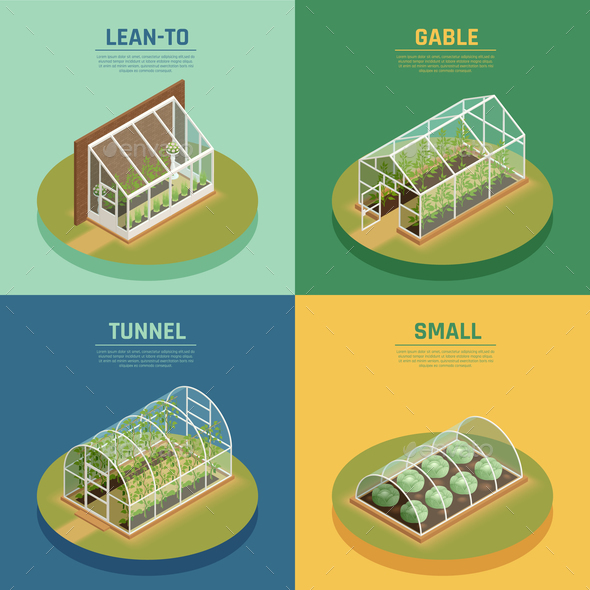 Greenhouse Hothouse Conservatory Isometric Set - Industries Business